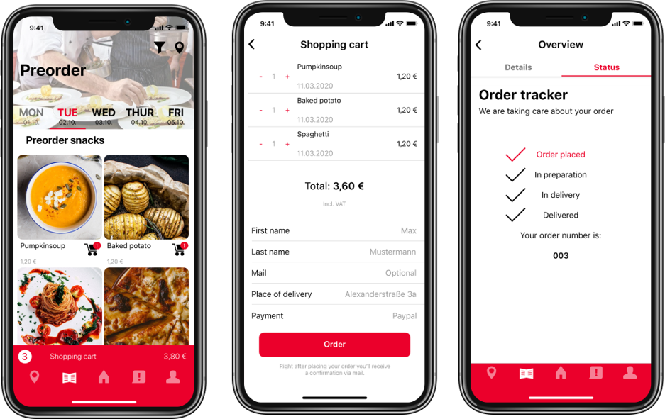 Ordering and payment via app with pickup by the guest