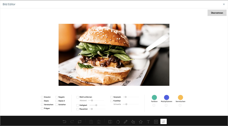 Der Bild-Editor im qnips Dashboard