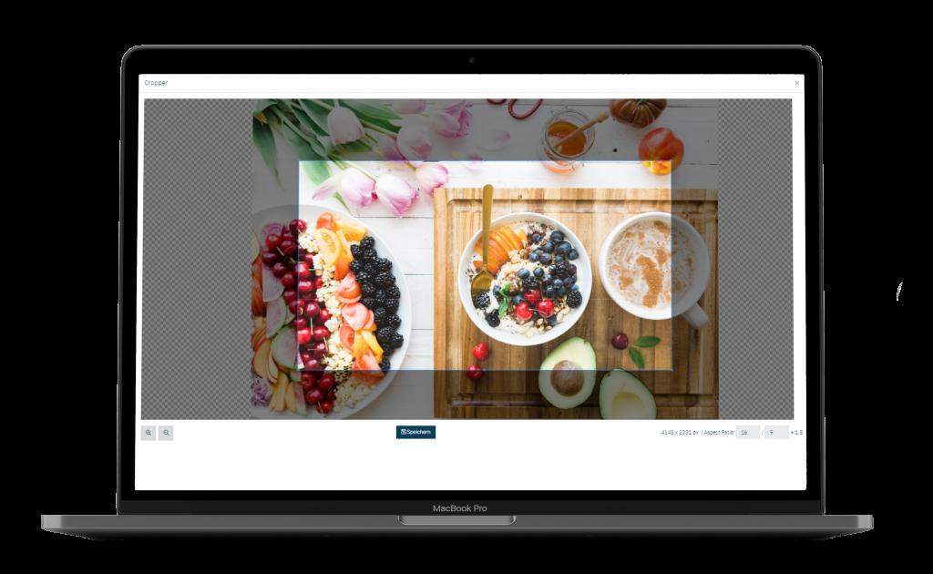 Das Cropping-Tool ermöglicht es dem Benutzer einen passenden Bildausschnitt zu wählen.