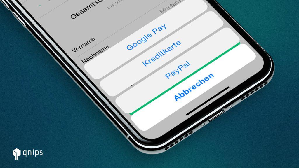 Das qnips System arbeitet auch mit PayPal und Google Pay
