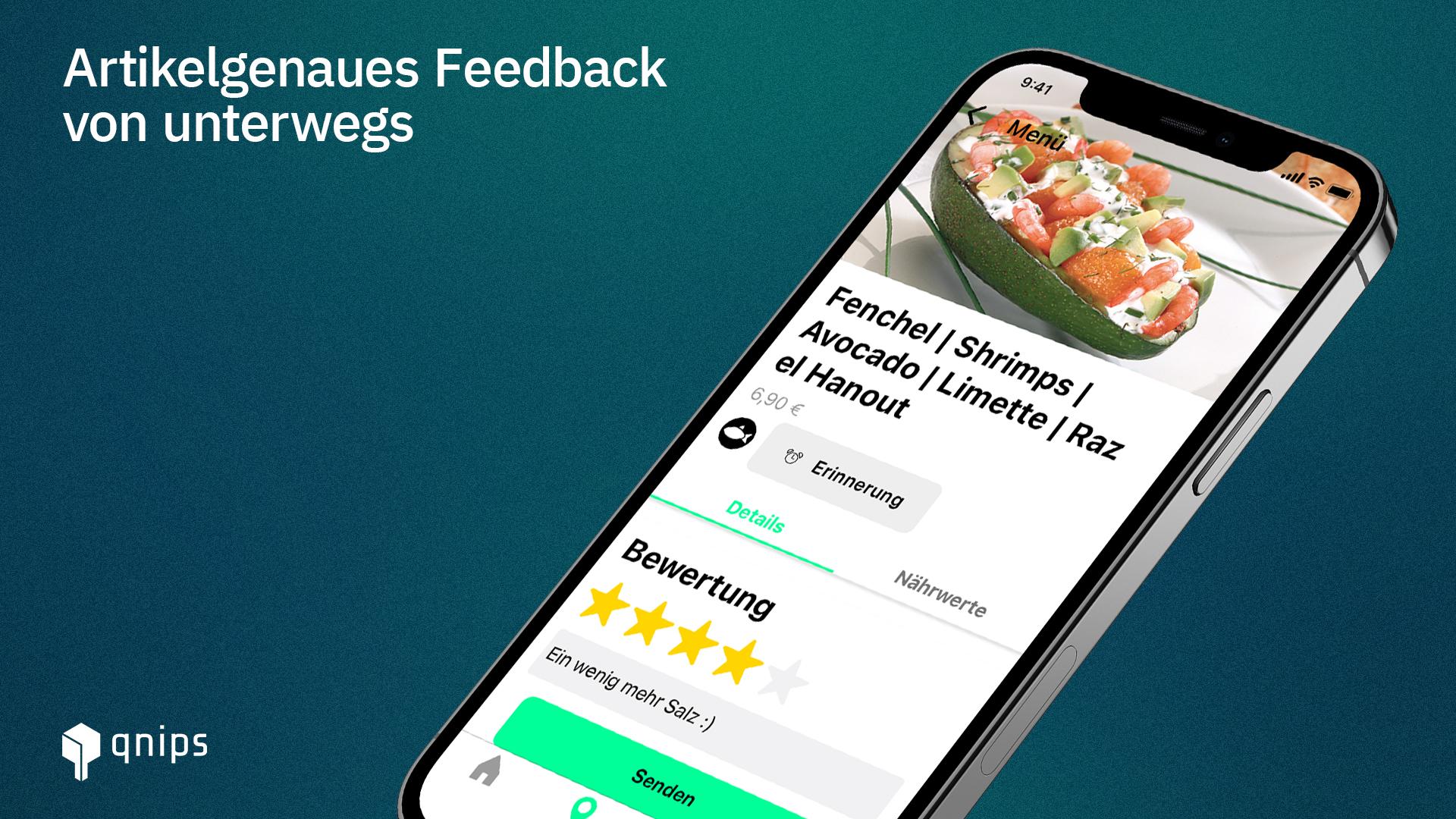 In der qnips App können Ihre Gäste direkt am digitalen Speiseplan eine Bewertung für das entsprechende Gericht abgeben.