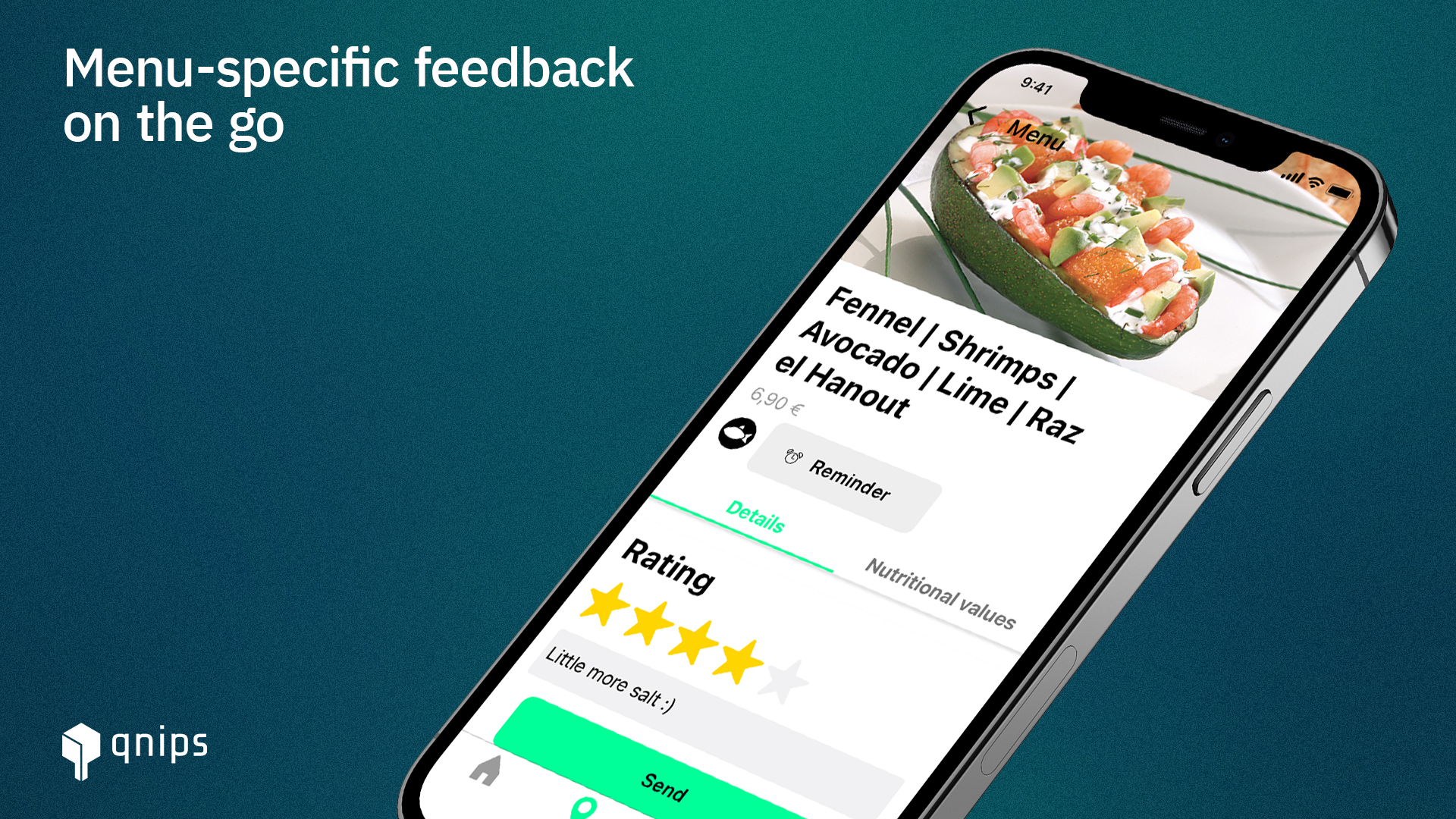 In the qnips app, your guests can give a feedback for the corresponding dish directly on the digital menu.