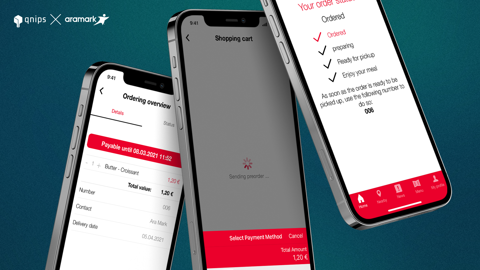 Pre-order process in the My-Restaurant-App