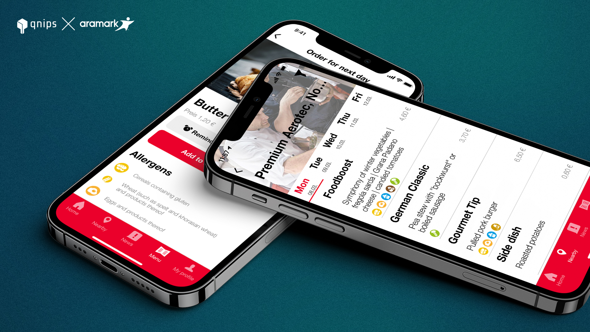 Menu display in the My-Restaurant-App