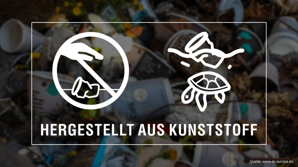 Warnhinweis nach Einwegkunststoffkennzeichnungsverordnung der EU Kommission. Mehrwegpflicht